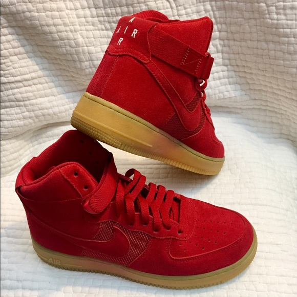 Nike Shoes Air Force 1 Mens Red Gum Sole High Top 07 Poshmark
